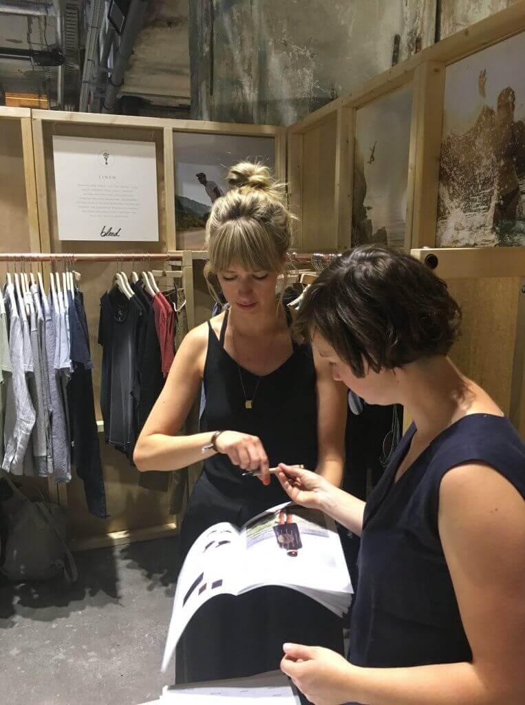 Christina Wille von LOVECO am Stand von bleed clothing auf der Fashion Week